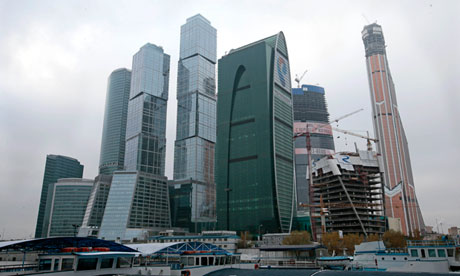The Moscow City complex with the Mercury City tower, right.